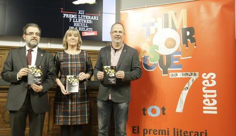 Rossich, Macià i Armengol a l'IEI durant la presentació.