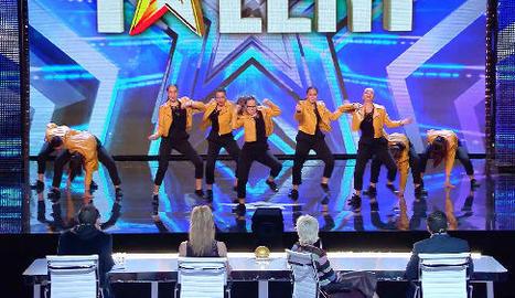 Un moment de l'actuació del grup lleidatà Flow Up al programa 'Got talent' de Telecinco.