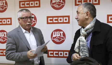 Els líders de CCOO i UGT van anunciar ahir les mobilitzacions.
