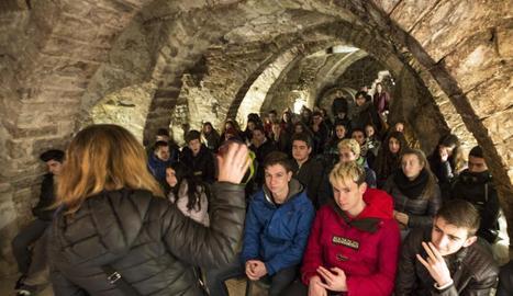 Últim grup d'estudiants, ahir en un dels espais de Sant Joan Degollat de Cervera.