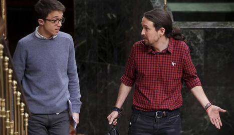 Iglesias i Errejón van entrar junts ahir al Congrés.
