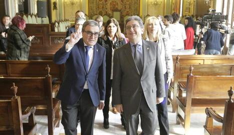 L'alcalde Àngel Ros i el delegat del Govern central a Catalunya, Enric Millo, ahir a la Paeria.