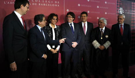Mundó, Millo, Montserrat, Puigdemont, Catalá, Rusca i Gordó, ahir en un acte a l'ICAB.