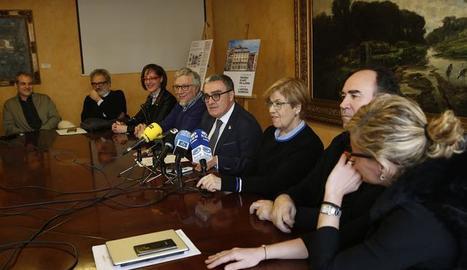 La roda de premsa d'aquest dimarts per anunciar el finançament per al Museu d'Art Jaume Morera de Lleida.
