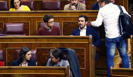 Imatge de la nova ubicació d'Errejón al Congrés.