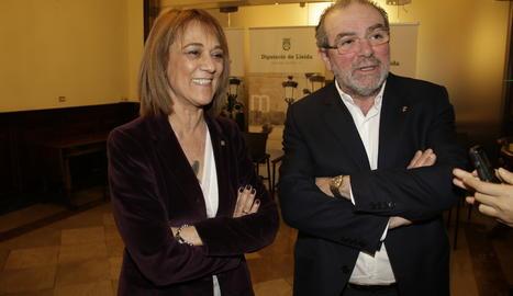Joan Reñé i Ester Franquesa, aquest dimecres a la Diputació de Lleida.