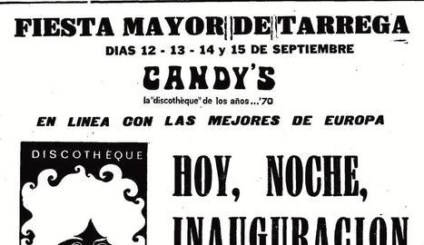 A l'esquerra, Sisco Oliver a Candy's el 1985. A la dreta, cartells dels establiments.
