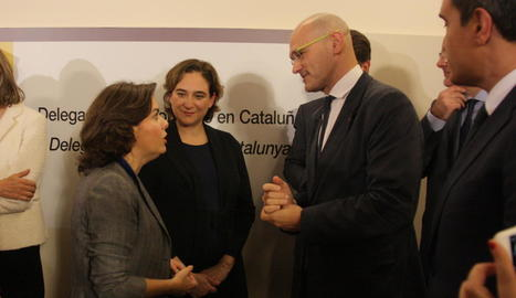 Santamaría, amb Colau i Romeva el mes de novembre passat.