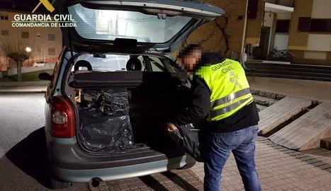 Els agents van trobar el tabac al maleter del cotxe.