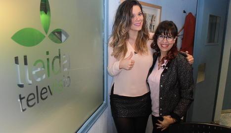 Lorena i Mariví Chacón, ahir, als estudis de Lleida TV.