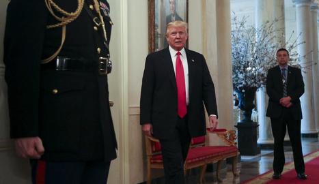 El president dels EUA, Donald Trump, a la sala Roosevelt de la Casa Blanca.