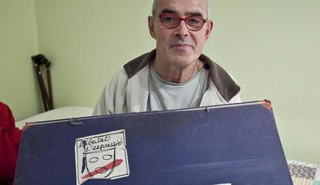 Jaume Pedrós, amb el logotip 'Llibertat d'expressió'.