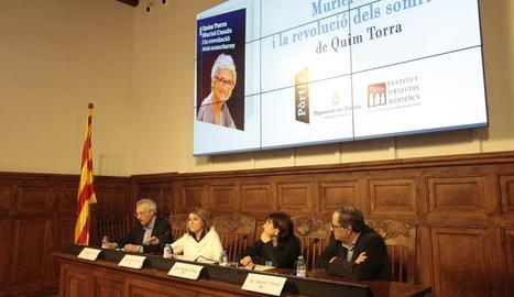 Forné, Pujol, Torres i l'autor, Quim Torra, ahir a la presentació.