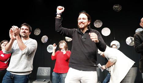 Pablo Iglesias i Ramón Espinar, a l'acte d'ahir.