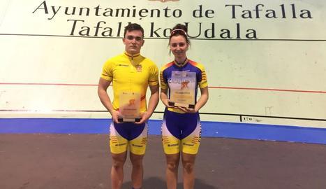 Els medallistes lleidatans Alfred Bonastre i Maria Banlles.