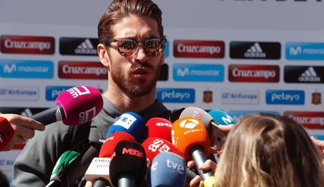 Sergio Ramos, ahir a la concentració de la Selecció.