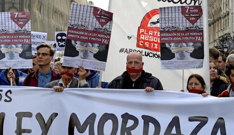 Foto d'arxiu de protestes contra la 'llei Mordassa'.