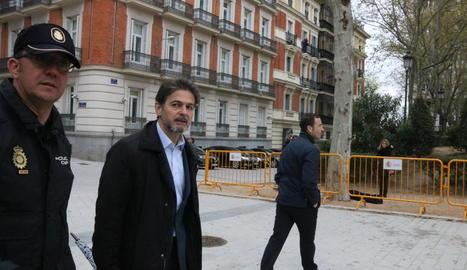 Oriol Pujol Ferrusola, a l'arribar ahir als jutjats de l'Audiència Nacional.