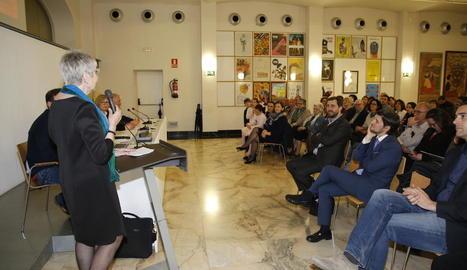 Tarruella, durant la seua intervenció per agrair el premi, ahir a l'IMAC.