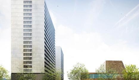 Recreació virtual de les dos torres de pisos que es construiran al costat de la Llotja.