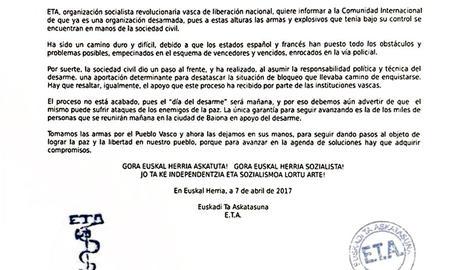 Imatge del comunicat emès per ETA aquesta matinada sobre el desarmament.