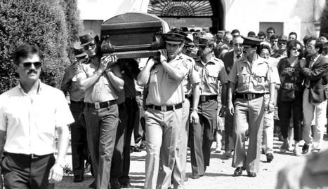 Enterrament a Lleida de Jesús María Freixes, assassinat per ETA el 1986.