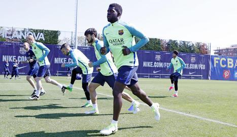 La plantilla blaugrana es va exercitar ahir a la Ciutat Esportiva Joan Gamper.