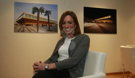 Carme Chacón durant una de les visites a Lleida.