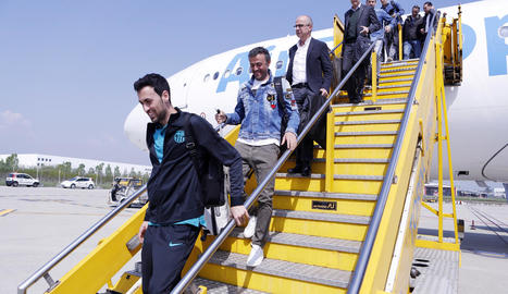Busquets, tot i que no podrà jugar avui per sanció, també va viatjar amb l'equip a Torí.