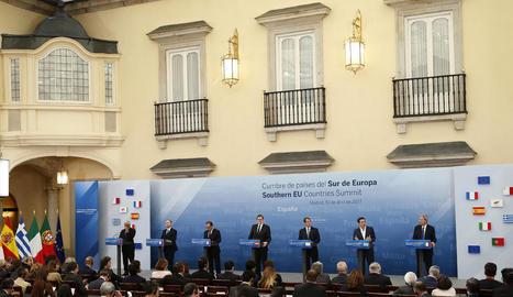 Imatge de la roda de premsa després de la cimera dels països del sud d'Europa, celebrada ahir a Madrid.