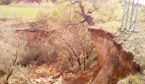 La zona on va tenir lloc el despreniment, que va bloquejar la conducció d'aigua a Vilamitjana.
