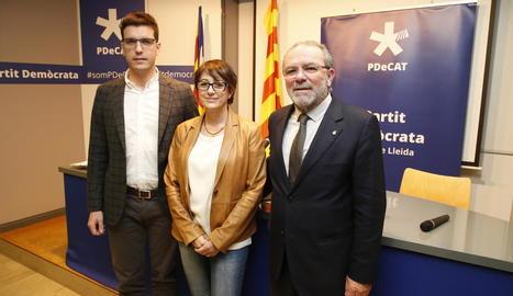 Postius, Rivero i Reñé durant la roda de premsa.