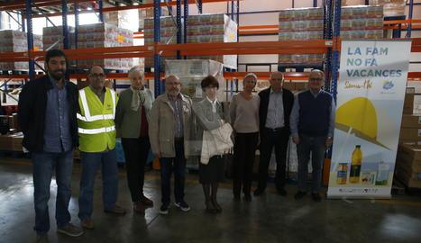 Roda de premsa al Banc dels Aliments de Lleida.