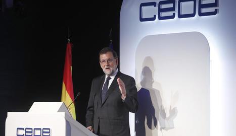 El president del Govern, Mariano Rajoy, durant la clausura de l'Assemblea General de la CEOE.