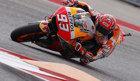 Marc Màrquez, durant la sessió d'entrenaments d'ahir al circuit nord-americà d'Austin.