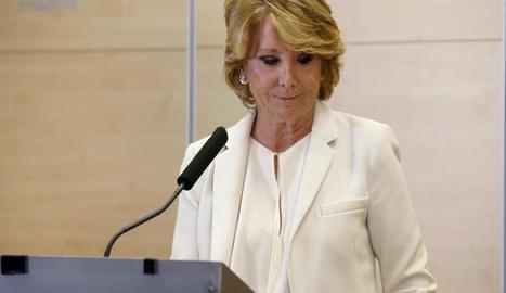 Esperanza Aguirre va anunciar ahir la dimissió com a portaveu i regidora de l'ajuntament de Madrid.