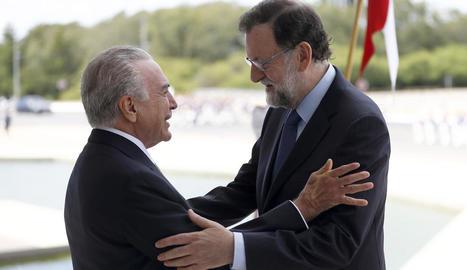 Mariano Rajoy i Michel Temer, ahir, a Brasília.