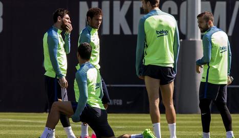 Messi, ahir a l'entrenament, amb Suárez, Neymar, Piqué i Jordi Alba.