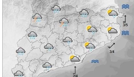 Mapa de previsió per a aquest dimarts a la tarda