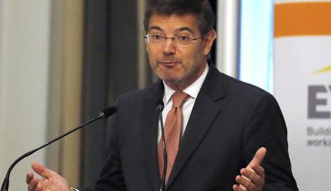 Imatge del ministre de Justícia, Rafael Catalá, durant la seua intervenció en un esmorzar informatiu.