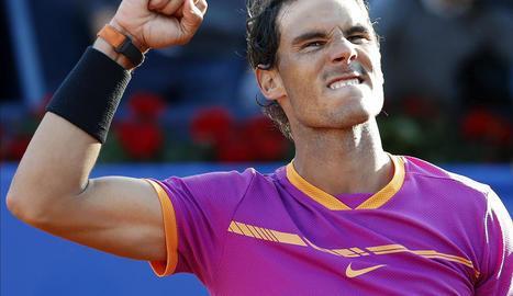 Rafa Nadal celebra la victòria davant el tenista coreà Hyeon Chung.