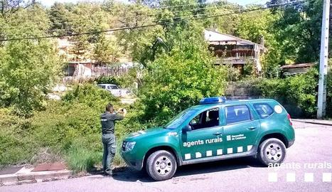 Un agent rural inspeccionant una de les urbanitzacions.