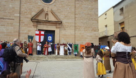 Un moment de la celebració de la Cerimònia Reial, ahir, a Puigverd de Lleida.