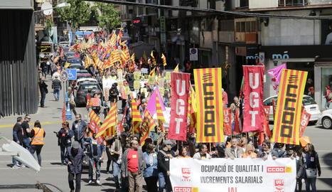 Manifestación del Primero de Mayo en Lleida.