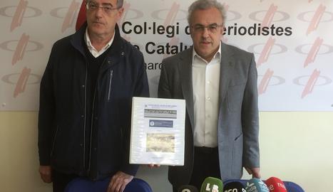 Francesc Xavier Roca i Enric Mir en un moment de la roda de premsa.