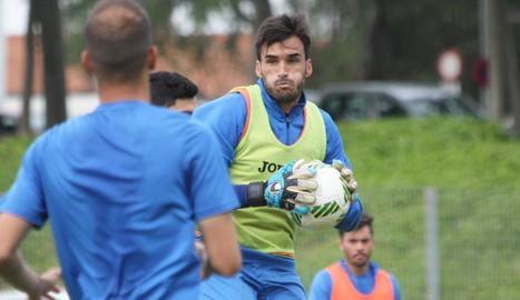 Álvaro Campos, durant l'entrenament d'ahir.