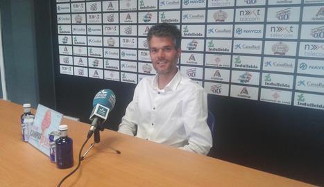 Borja Comenge, entrenador de l'Actel Força Lleida, en la compareixença per valorar la temporada.