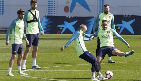 Andrés Iniesta, durant una sessió d'entrenament de la setmana passada.