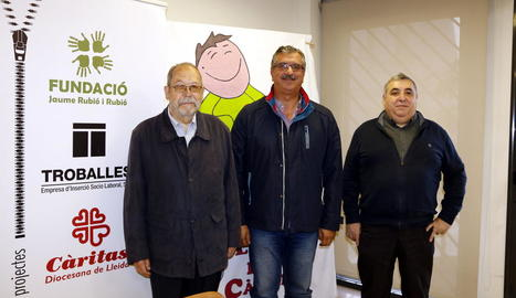 Albert Puchol, Ramon Baró i Josep Fernández, ahir a Lleida.