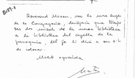 """Imatge de la nota manuscrita de Marta Ferrusola en la qual s'identifica com a """"mare superiora""""."""